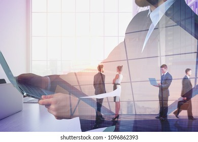 Abstract businessman silhouette using laptop on city interior background with people. Technology and meeting concept. Double exposure