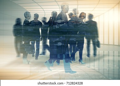 Abstract businesspeople silhouettes in spacious office interior on city background. Employment concept. Double exposure