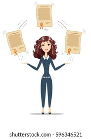 Abstract Businesswoman holding a diploma or patent. Women in business. For use in presentations. Stock flat illustration