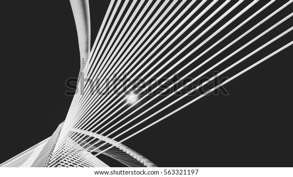 Abstract cable-stayed bridge which is a landmark in Putrajaya. Black and white .