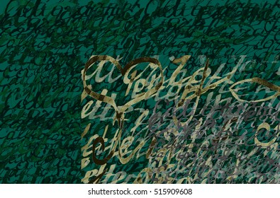 Abstract calligraphic hand drawn background. Background made of repeating word lettering