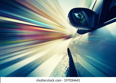 Abstract car driving in city, blurred motion background