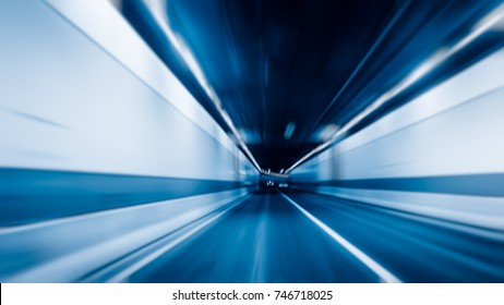 abstract car driving through tunnel, blue tone images.