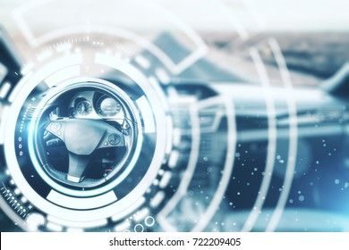 Abstract car interior with digital hologram around wheel. Innovation concept. 3D Rendering