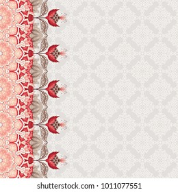 Abstract card with border. Ornament with fantastic flowers and leaves. Simple delicate ornament. Motives of ancient Indian fabrics. Tree of Life collection. Place for your text.