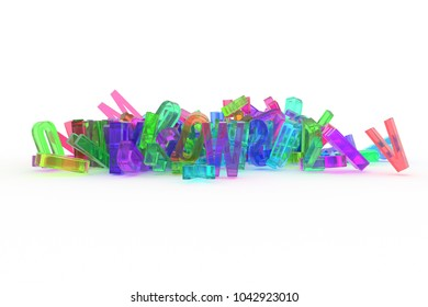 Abstract CGI typography, letter of ABC, alphabet. Good for web page, wallpaper, graphic design, catalog, texture, background. Colorful transparent plastic or glass 3D rendering.