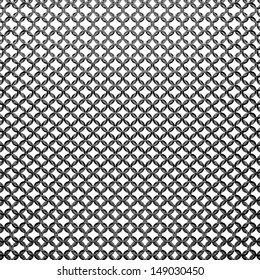 Abstract chain mail grid texture. Armor from steel rings isolated on white