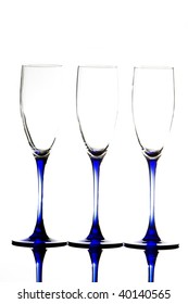 Abstract champagne glasses isolated on white. Copy space for your text.