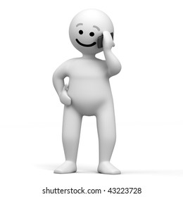 Abstract character with mobile phone