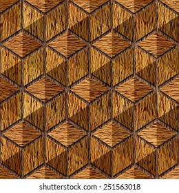 Abstract checkered pattern - Interior wall panel - seamless background - wood texture - hexagonal grid - Decorative trim - Continuous replication