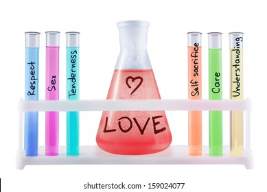 Abstract chemical formula of love on white background.