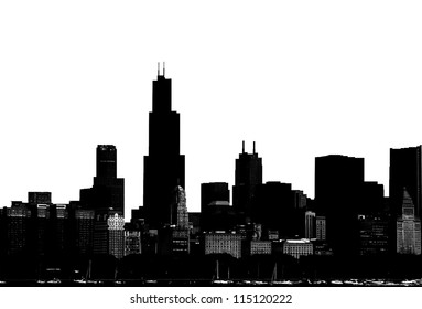 Abstract Chicago silhouette skyline
