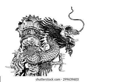 Abstract Chinese dragon line drawing