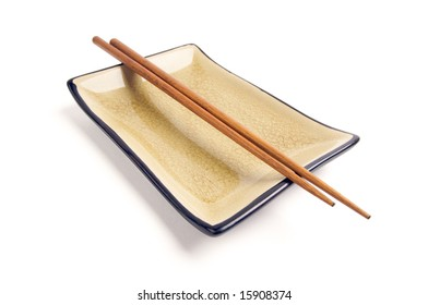 Abstract Chopsticks and Bowl Isolated on a White Background.