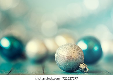 Abstract Christmas background, with balls and bokeh