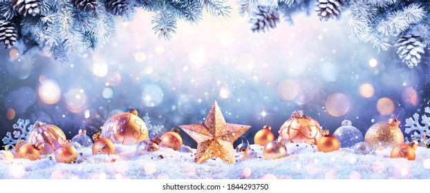 Abstract Christmas Card - Golden Ornament On snow With Fir Branches And Defocused Lights - contain Illustration