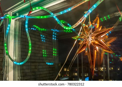 Abstract Christmas Colorful Lights Texture Holidays Decoration Star Copy Space Reflections Background