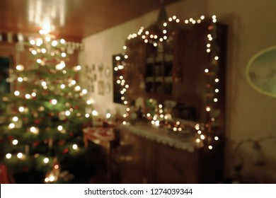 Abstract Christmas Concept - Atmospherically Decorated Family Room in Christmas Time