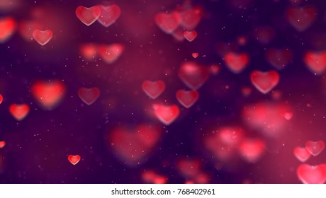 abstract christmas gradient red and purple gradient background with bokeh glitter and red hearts shape flowing, valentine day love relationship holiday event festive concept