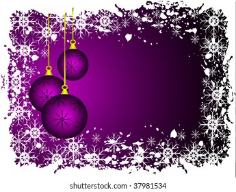 An abstract Christmas  illustration with purple baubles on a lighter backdrop with grunge snowflakes and room for text