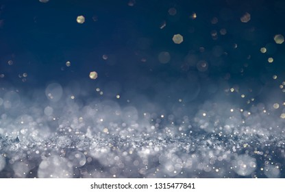 Abstract Christmas light background.  Holiday glowing backdrop. Defocused Background With Blinking Stars. Blurred Bokeh.