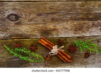 Abstract Christmas Natural Background in Grey Boards Stuidio Photo