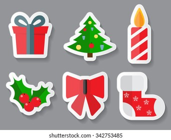 Abstract Christmas and New Year Sticker Set. Illustration