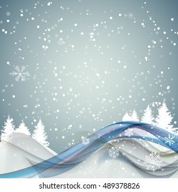 Abstract Christmas and New Year Wave Background with Lights, Trees Snowflakes.  Illustration