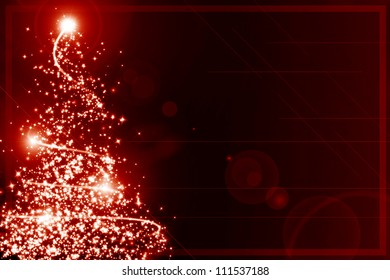Abstract christmas tree on a red background