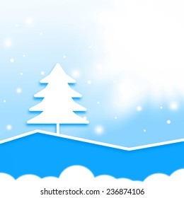 abstract christmas white tree,blue tone color background