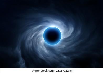 Abstrakter Kreis mit Licht im unscharfen wirl einer dunklen Wolke