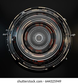Abstract circle technical and futuristic shape, 3d illustration