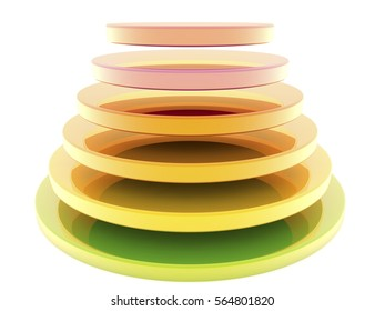 Abstract circles in different colors.3d illustration.