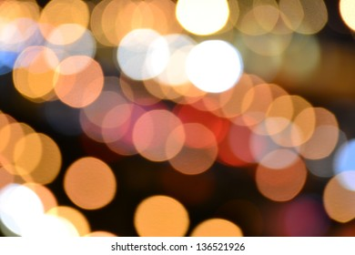 Abstract circular bokeh background of Light on the road.