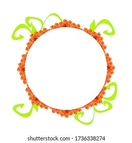 Abstract circular frame with orange and green floral elements, on a white background. Useful for banner, labels, invitation or greeting cards.