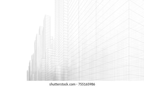 abstract city architecture 3d illustration