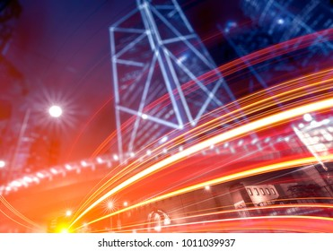 Abstract city background with curved light tails