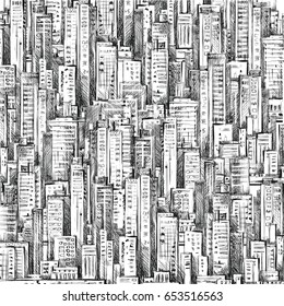 Abstract city background. Hand drawn illustration