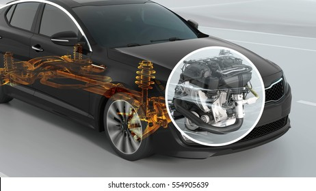 abstract City car structure overview during driving. 3d illustration