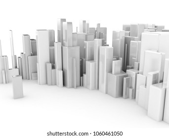 Abstract city made of metal cubes. 3d render