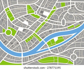 Abstract city map illustration. Raster version