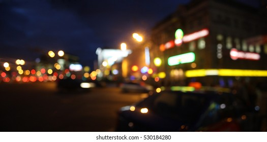 Abstract city at night circular blurred lights background