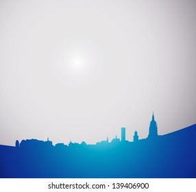 abstract city silhouette on the gray button