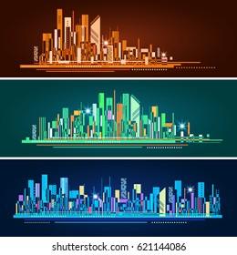Abstract city skyline header set