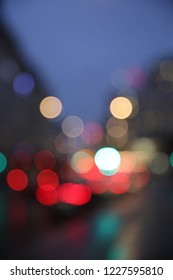 Abstract city and traffic lights, Stockholm Sweden.