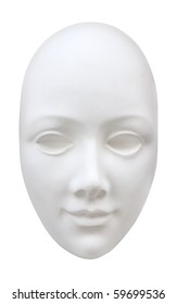 Abstract clear white face mask isolated. Clipping path included.
