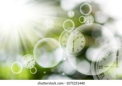 abstract clock image on blurred background
