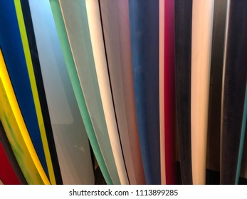 Abstract close up of colorful surf boards