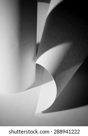 Abstract close up photo of curve shapes made of white paper