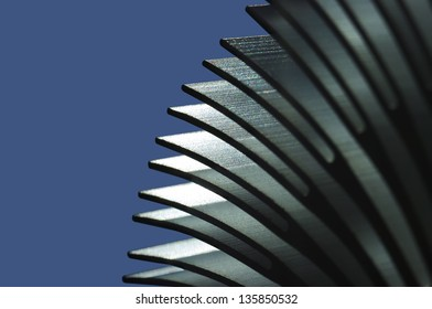 Abstract close up view of an heat sink fins.(Shallow DOF)